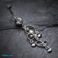 Hearts Curtail Crystalline Belly Button Ring