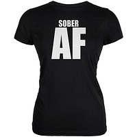 Sober AF Black Juniors Soft T-Shirt