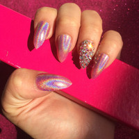 Luxury Hand Painted False Nails. Stiletto Holographic Pink Nails. 24 Nail Set.