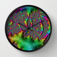 Funky Weaves Weaving Spiral Neon Rainbow Fractal Abstract Art Pattern Digital Graphic Design Wall Clock by Phenom Pixels