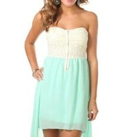 strapless short dress with lace bodice and high low hemline - debshops.com