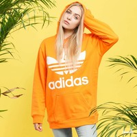 adidas Originals Oversized Trefoil Logo Hoodie In Orange