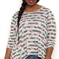 PLUS SIZE THREE QUARTER SLEEVE STRIPE FLORAL TOP WITH LACE BACK