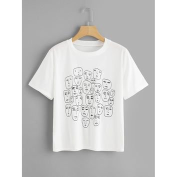 Cartoon Portrait Print Tee WHITE CASUAL