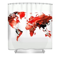Map Of The World 10 -colorful Abstract Art Shower Curtain