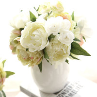 8 Peony Flowers Head Bouquet Artificial Peony Silk Flowers Fake Leaf Home and Wedding Party Decoration
