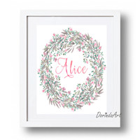 Personalized Name print Floral wreath printable Personalized nursery art Custom name printable Pink and Gray nursery Poster print Download