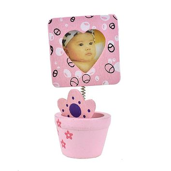 Heart Picture Frame in Flower Pot Favors, 4-Inch, Pink