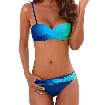 Women Swimwear Beachwear Gradient Print 2 Pieces Bikini Swimsuit Bathing Suit 2019 Sexy Brazilian Bikini Swimwear Women 2.0#