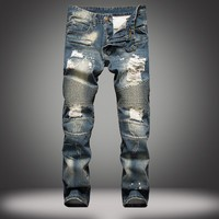 Ripped Holes Slim Strong Character Jeans [10366809475]