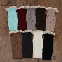 2017 New 1Pair Women Crochet Knitted Lace Trim Toppers Thigh Cuffs Bands Short Liner Leg Warmers Boot Socks 9 Colors femme