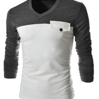 V-Neck Two Color Slimming Long Sleeve Men's T-Shirt