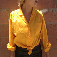 Yellow Button Up Blouse with Tie In Front & Roll Up Sleeves Size Medium