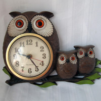 Vintage Owl Clock Burwood 1972