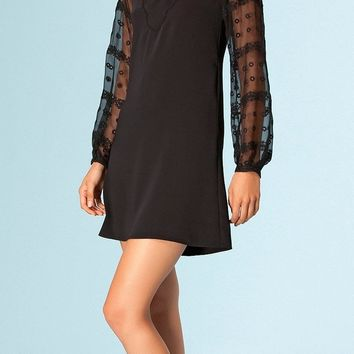 Black Satin Shift Dress