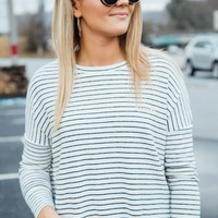 Romantic Striped Knit Top, White/ Black