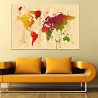 """canik209 Canvas Print Artwork Stretched Gallery Wrapped Wall Art Painting world map Size 26x40"""""""