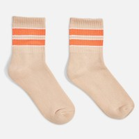 Coral Stripe Sports Socks - Clothing