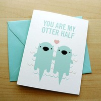 $3.50 Otter Half Card by birdswithturds on Etsy