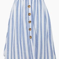 Flynn Button Front Midi Skirt - Blue/White Stripes
