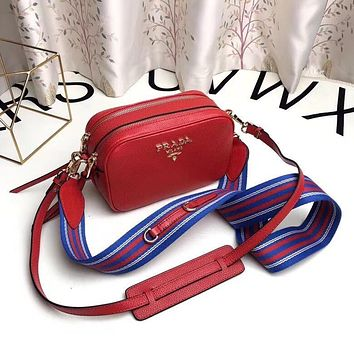 PRADA WOMEN'S 2018 HOT STYLE LEATHER INCLINED SHOULDER BAG