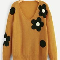 Plus Flower Applique Loose Knit Sweater