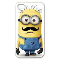 Cool Funny Despicable Me Minion with Cute Mustache iphone 4, 4scase