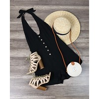 Final Sale - Cotton Candy - Fairgrounds Linen Romper in Black