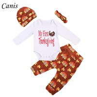 Super Cute 4PCS Infant Baby Boy Girl My First Thanksgiving  Romper Tops+Turkey  Pants +Hat Headband Outfits Clothes Set 0-24M