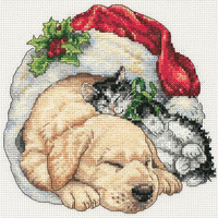 """Gold Petite Christmas Morning Pets Counted Cross Stitch Kit-6""""""""X6"""""""" 18 Count"""