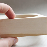 35 mm Wooden square bangle unfinished - natural eco friendly - Linden tree