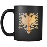 Albania Eagle Animal Bird Lover Crest Black Mug 11oz
