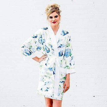 Blue Watercolor Floral Silky Kimono Robe on White Small - Medium (Pack of 1)