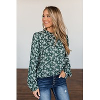 High Standards Floral Ruffle Blouse- Forrest Green