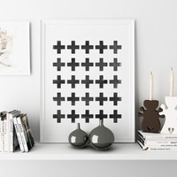 Swiss cross art Home decor art Minimalist print Swiss cross Black and white Wall art Watercolor Crosses Printable Wall Art SWITZERLAND Print