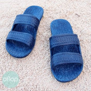 Navy Blue Kids Jandals ®-- Pali Hawaii Hawaiian Jesus Sandals