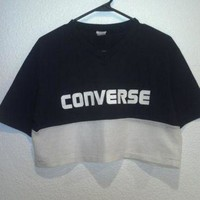 DCCK1IN vintage 80 s converse crop top v neck t shirt with mesh bottom