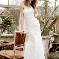 NEW! Strapless Lace Gown with Ribbon Detail Wedding Dress - Basadress.com