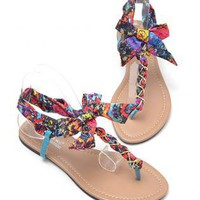 T Shape Flat Sandals with Chiffon Bowtie RO94