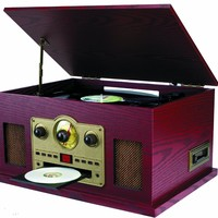 Sylvania SRCD838 5-In-1 Nostalgic Turntable with CD, Casette, Radio, Aux-In