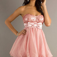 Short Pink Strapless Dress for Prom