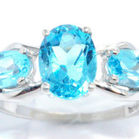 2 Carat Blue Topaz Oval Ring .925 Sterling Silver Rhodium Finish White Gold Quality