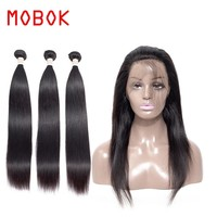 MOBOK 2/3 Bundles With 360 Lace Frontal Peruvian Hair Weave  Straight Human Hair  Non Remy Hair Extensions Bundles With Closure