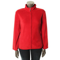 Karen Scott Womens Funnel Neck Lightweight Fleece Jacket