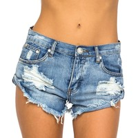 Women's Bandits Ripped Denim Jean Short Cut Off Gap Jeans Frayed Low Rise-XS