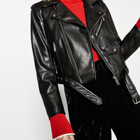FAUX LEATHER JACKETDETAILS