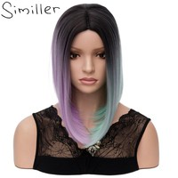 Similler Ombre Short Women Synthetic Wigs Three Tones Straight High Temperature Fiber Hair Bob Wig for Cosplay Halloween