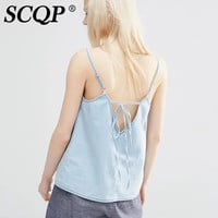 SCQP Korean Fashion Light Blue Crop Top Criss Cross Belt Sleeveless Camisole Sexy Backless Jeans Women Tops Summer 2016 Feminino
