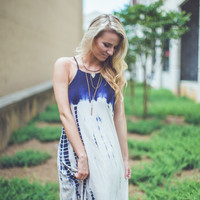 Halter Tie-Dye Dress in Navy