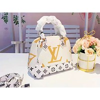 LV fashion hot seller lady patchwork color print single shoulder shopping bag White